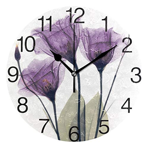Lavender Hope Flowers Round Wall Clock, Silent Non Ticking Oil Painting Decorative for Home Office School Clock Art