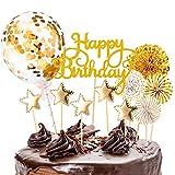 Kiiwah Decorazione Torta di Compleanno Oro Happy Birthday Cake Topper Coriandoli Palloncino Stella Cupcake Topper