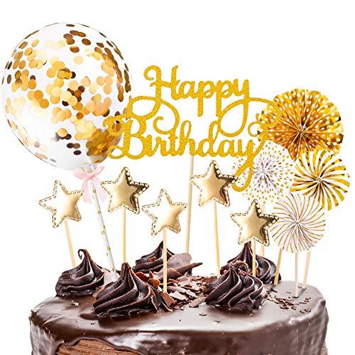 12 Stück Tortendeko Cake Topper, Happy Birthday Kuchendeko Kuchen Topper Goldene Konfetti-Luftballons und Papierfächer für Tortendeko Geburtstag