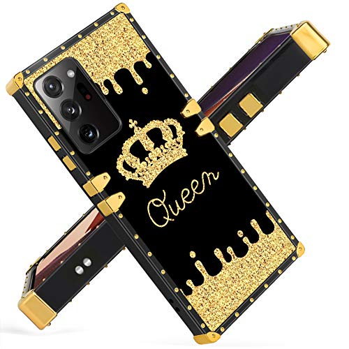 Fiyart Samsung Galaxy Note 20 Ultra 5G 6.9 inch 2020 Case Golden Queen Crown Luxury Square Soft TPU and Hard PC Back Stylish Retro Cover