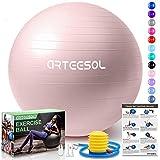 arteesol palla fitness, palla pilates anti-scoppio 45cm/55cm/65cm/75cm/85cm palla da ginnastica con pompa rapida per fitness yoga e pilates (45cm, rosa chiaro)