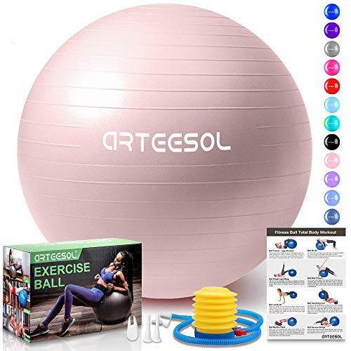 arteesol Gymnastikball, Balance Ball 45cm/55cm/65cm/75cm Yoga Ball mit Pumpe Anti-Burst Fitness Balance Ball für Core Strength (65 cm, Rosa-Scrub)