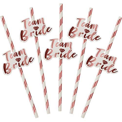 48 Pezzi Rose Gold Hen Party Paglie di Carta con Team Bride Flags Team Bride Cannucce Hen Party Cannucce Oro rosa Paglia Bridal Shower Paper Paglia Accessori da Addio al Nubilato