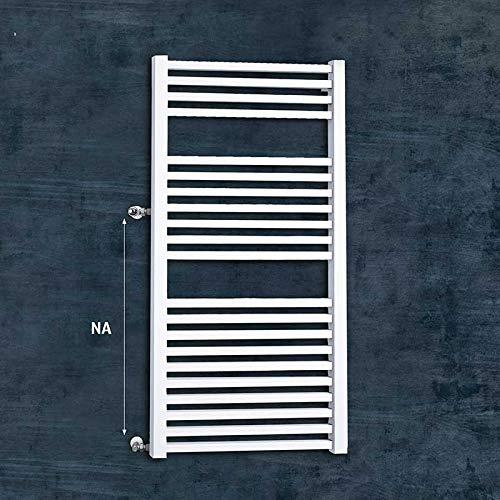S-2009 Badheizkörper Austauschheizkörper Renovierungsheizkörper Badheizkörper seitliche Anschlüsse weiß Vierkantrohre (1255 mm x 600 mm - NA links 400 mm)