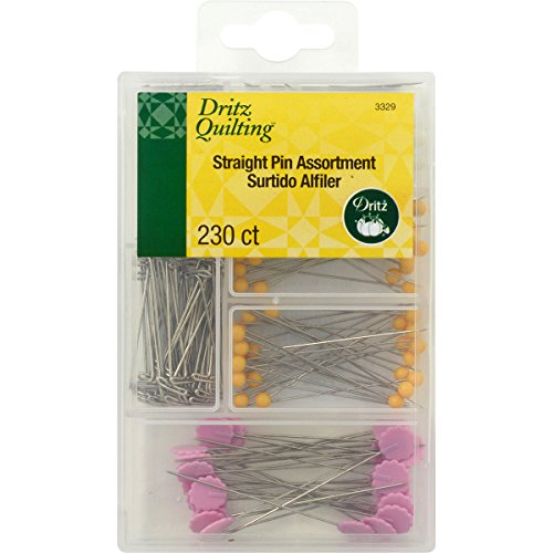 Dritz Quilting Straight Pin Assortment with Reusable Storage Box-230 Count