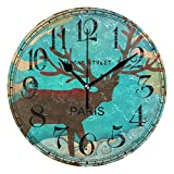 landianguangga 25x 0.5cm Retro Camouflage Frog Silent Non Ticking Wall Clock, Acrylic Decorative