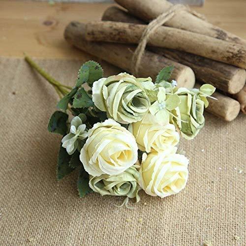 GANHUA 6 rozen kunstige bloemen kleine bloemen bruiloft decoratie namaakbloemen zijde roos bloem voor wooncultuur lichtgroen