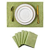 Home Brilliant Placemats Set of 6 Heat Resistant Dining Table Place Mats Kitchen Table Mats for Summer, Grass Green