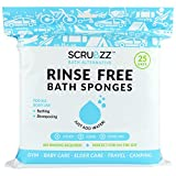 Scrubzz Disposable No Rinse Bathing Wipes - 25 Pack - All-in-1 Single Use Shower Wipes, Simply Dampen, Lather,...