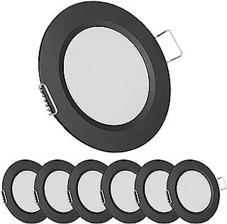 Acegoo Spot Encastrable 12V LED Extra Plat Noir Dimmable 2.5W 5000K 215LM Étanche IP64 Éclairage Plafond Encastré pour Cam...