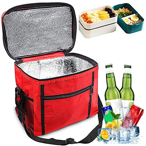 Sunshine smile Kühltasche Faltbar,Picknicktasche Kühltasche,Thermotasche Klein,Isoliertasche Lunch,Kühltasche Eistasche,Lunch Tasche,Kühlbox für Picknick 10L (ROT)
