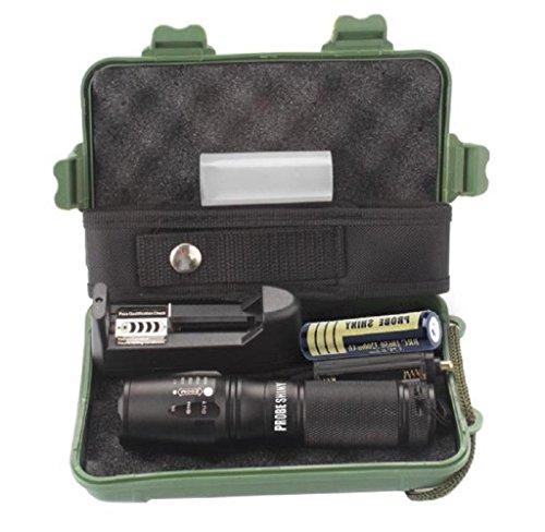 Maolanku X800 Zoomable XML T6 Torcia Tattica + 18650 Batteria + Caricabatteria + Caso,per a caccia, il ciclismo, l'arrampicata, il campeggio, viaggi e attività all'aria aperta