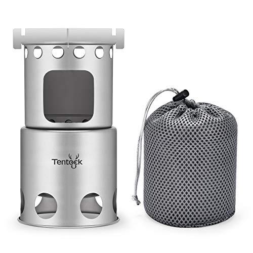Tentock Titanio Backpacking Estufa de leña Camping plegable Estufa de cocina ligera para cocinar al aire libre