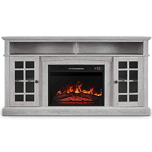 BELLEZE Fireplace TV Stand with Remote Control Console for TV's Up to 65' Entertainment Center, Sargent Oak