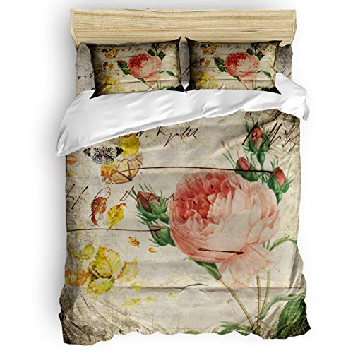 Cloud Dream Home 4 Pieces Luxury Duvet Cover Set Rose Butterfly for Kids/Girl/Women/Adults Retro Watercolor Breathable Bedding Comforter Cover Sets with Zipper, 4 Corner Ties Queen