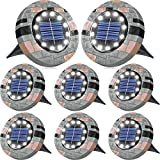 Biling Solar Ground Lights Outdoor with 12 LEDs, Bright Solar Lights Outdoor Garden Waterproof, Solar Disk Lights for Pathway Garden Yard and Walkway (White 8 Pack)