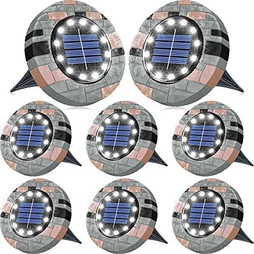 Biling 12 LEDs Luce Solare da Giardino, Luci da Giardino Solari Luminose per Esterni, Luci a Disco Solari Impermeabili per Prato, Giardino e Passerella-Bianca(8 Pack)