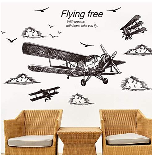 Terilizi potlood schets stijl vliegtuig muur Stickers DIY hoge gebouwen muurschilderingen voor woonkamer slaapkamer huis decoratie