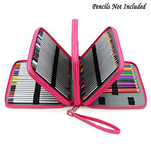 BTSKY160 Slots Colored Pencil Case- Deluxe PU Leather Handy Pencil Holder Organizer Zipper Pencil Box Large with Handle Strap for Colored Pencils Watercolor Pencils(Pink)