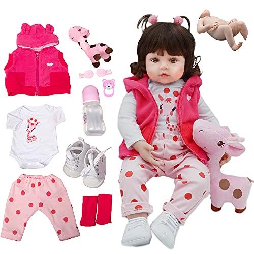Boneca Bebê Reborn Silicone Menina Girafinha Olhos Castanhos 48cm Pode Dar Banho