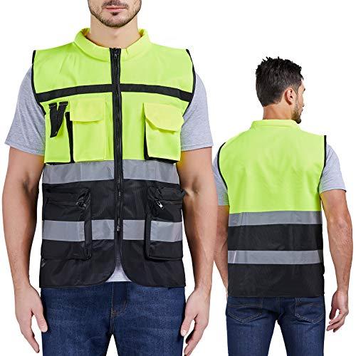 Chaleco reflectante de moda con cuello absorbente de sudor, chalecos de seguridad de alta visibilidad con cierre completo (amarillo y negro), L
