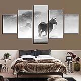 Pinturas en lienzo decorativas para el hogar Hd 5 paneles Animal caballo cuadros modulares póster impreso moderno para el marco del arte de la pared de la sala de estar