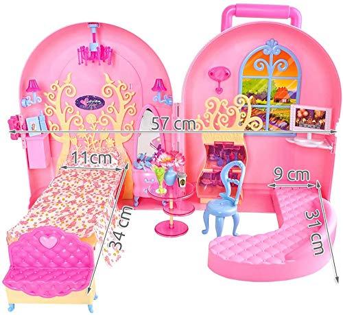 ISO TRADE Casa de muñecas plegable portátil – Casa de muñecas con 2 habitaciones y muchos accesorios en maletín rosa juguete a partir de 3 años 8675