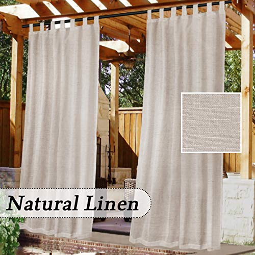 Porch 52 x 84 inch, Blush 2 Panels Waterproof Sheer Curtains for Pergola LORDTEX Burlap Linen Look Outdoor Curtains for Patio Cabana and Gazebo Grommet Indoor//Outdoor Voile Sheer Drapes