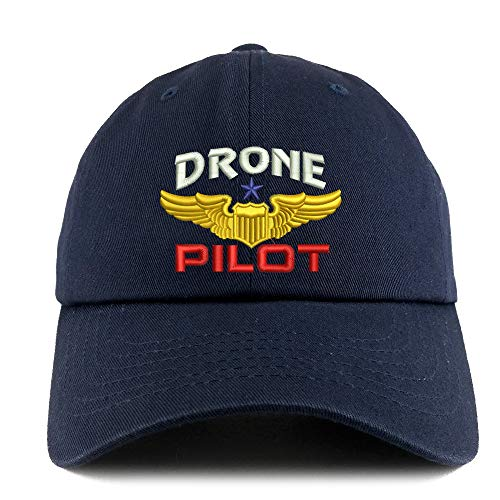 Trendy Apparel Shop Drone Pilot Aviation Wing Embroidered Low Profile Soft Cotton Dad Hat Cap - Navy