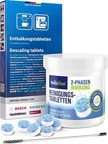 Pflegeset für Siemens Kaffeevollautomat Entkalkungstabletten Reigungstabletten & Steigrohrbürste