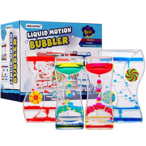 XINBAOHONG Liquid Motion Bubbler Timer Sensory Toy for Kids and Adults 4-Pack,Calming Stress...