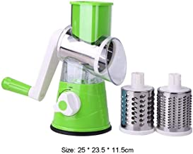 Multi-Functional Manual Vegetable Fruit Cutter Potato Shred Grater Stainless Steel Round Slicer Kitchen Accessories Cooking Tool,Green