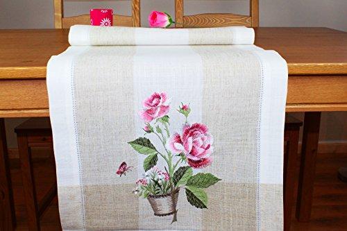 '* * * Incredibile Serie 'Rose Vassoi in crema beige–Meravigliosa tessuti di lino, con Ella gesticktem Rose e farfalla–Un HINGUCKER–Nuovo dal Shop kamaca (Tavolo corridore 40x 140cm) * * * * * *