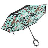 プードル犬晴雨兼用超撥水水加工耐風日焼け対策 Uv車用レディース逆折り式傘