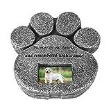 Nicoone - Pietra commemorativa per gatti e cani a forma di zampa per animali domestici e tomba con cornice per foto per esterni o interni