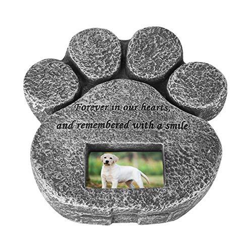 Nicoone Piedra conmemorativa de mascotas para gatos y perros, forma de pata de mascota, lápida conmemorativa con marco de fotos para lápidas o interiores