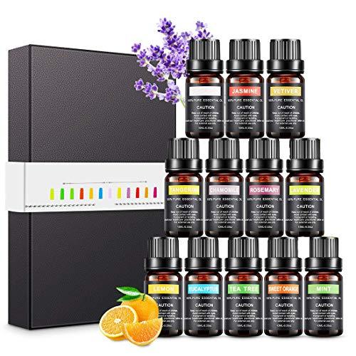 Aceites Esenciales, 12 x 10 ml Aceites Esenciales para Humidificador, Aceites de Aromaterapia para Difusor, 100% Puro Natural Esenciales Lavanda, Eucalipto, Menta, Naranja