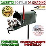 CASSETTA POSTA AMERICANA USA MAILBOX GIARDINO PORTA LETTERE ESTERNO VERDE METALLO