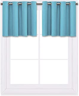 NICETOWN Blackout Window Valance for Nursery - Eyelet Top Window Treatment Blackout Curtain Panel (Teal Blue=Light Blue, 1 PC, W52 x L18 + 1.2 inches Header)