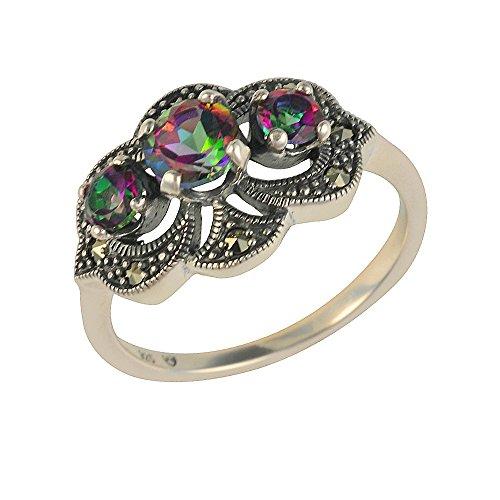 Esse Marcasite Mystic Green Ring Sterlingsilber, Topas und Markasit, Jugendstil