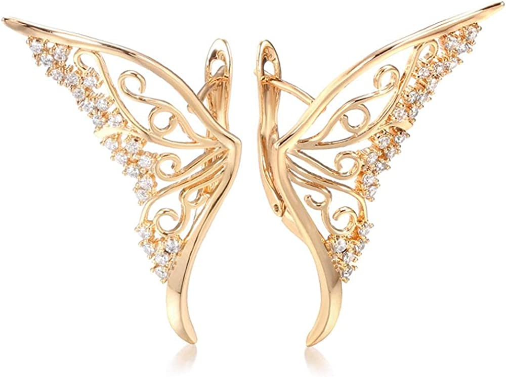 Dainty Butterfly Earrings Fashion Gold Plated Cubic Zirconia Butterfly Cuff Earrings Gold Big Butterfly Wing Earrings Butterfly Statement Charm Earring Butterfly Diamond Zircon Stud Earrings