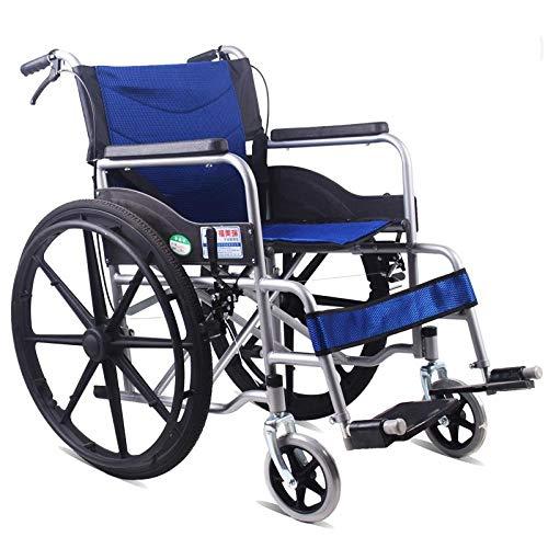 PLBB3K Rollstuhl faltender Leichter älterer älterer Behinderterwagen kleine ältere ältere ältere ultraleichte tragbare Reisen-Roller-gelbe Lenker sind Nicht faltbar (Color : 24 inch net Blue)