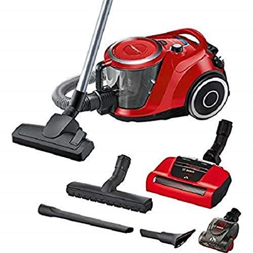 Bosch ProAnimal Serie I 6 - Aspirador sin bolsa, limpieza rápida e higiénica del pelo de las mascotas gracias a la boquilla AirTurbo Plus y a la función SelfClean, en rojo