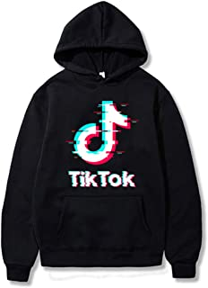 Adult TIK Tok Distressed Printed Cotton Cozy Hoodies Hooded Sweatshirts Pullovers Tops