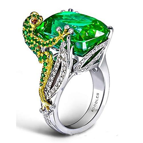 FRSH MNT Anillo de Las Mujeres Milangirl camaleón Lagarto Verde circón Mano Anillos de joyería para Mujeres Aniversario Amor de una Vida (Size : 10)