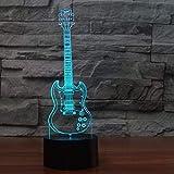 Creative 3D Lumière Guitare Électrique Modèle Illusion 3D Lampe Led 7 Changement De Couleur Usb Télécommande Tactile Capteur Bureau Lumière 3D Nuit Lumière