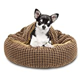 FURTIME Cozy Cuddler Dog Bed for Small Dogs & Cats, Round Donut Anti-Anxiety Calming Cave Hooded Blanket Pet Bed, Orthopedic Cushion Beds for Indoor Cat & Puppy, Anti-Slip Bottom & Washable, 23 Inch