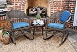 Quality Outdoor Living 65-YZSP03 Teagan Rocking 3 Piece Chat Set, Dark Brown Wicker + Blue Cushions