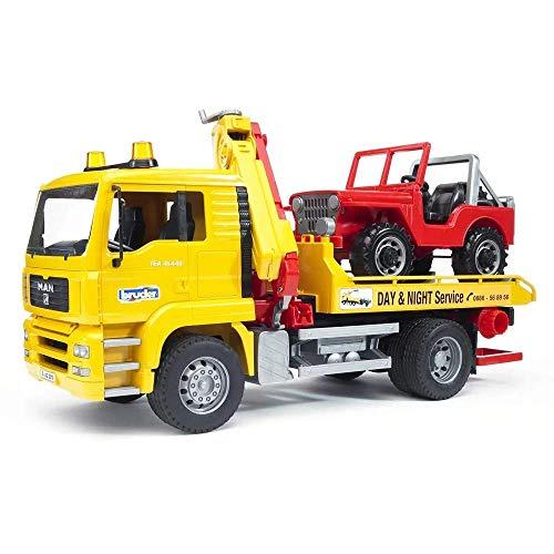 Bruder 02750 MAN TGA Abschlepp-LKW mit Geländewagen