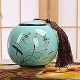 BENGKUI Escultura,Colección China Longquan Celadon Cerámica Pintada Lotus Leaf Tea Caddy Caja De Almacenamiento De Tarro Sellado